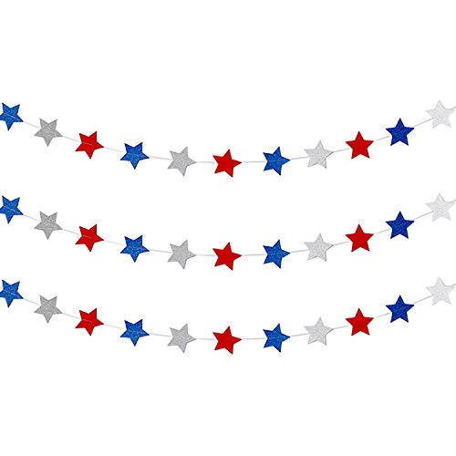 Frienda Red White Blue Star Streamers Patriotic 4th of July Decorations Sparkling Star Garland Hanging Decorations, 3 Pack