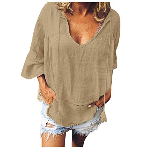 Review Of Gifts for Women,Women Solid Color Loose V-Neck Three Hollow Out T-Shirt Tops Blouse Khak...