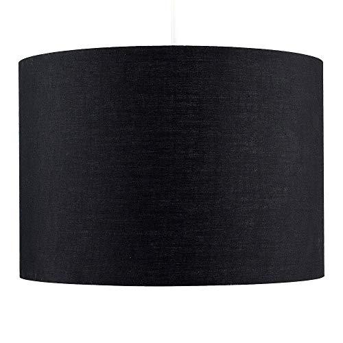 MiniSun – Großer Lampenschirm in Zylinderform, Schwarz – Lampenschirm Hängelampe Schwarz – Lampenschirm Schwarz Stoff – Stoffschirm Lampe Decke, schwarz (Poly-Baumwolle, 35 cm)