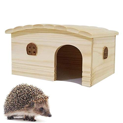 NLRHH Hedgehog Houses for Garden Waterproof, Curved Roof Wooden Hedgehog Feeding Station Hibernation Shelter Shelter Box Small Animal House Hedgehog Box Outdoor Cat House Summer Winter Dormitor.