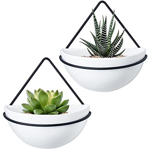 Mkono Ceramic Wall Planter Set of 2 Hanging Planter with Metal Geometric Plant Hanger, Modern Wall Mounted Plant Pot for Succulent Air Plant Cactus Indoor Home Office Decor Gift Idea, White