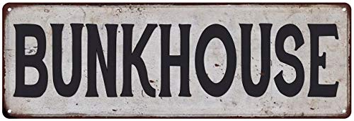 Bunkhouse Vintage Look Rustic Metal Sign Plaque Retro Signs Wall Decor 6 x 18 High Gloss Metal 206180035047