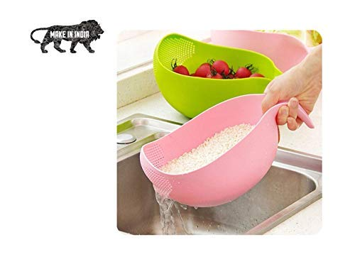 Plastic Multipurpose Rice Wash Bowl with Handle for Rice Vegetable & Fruits Pack of 1 Multi Color