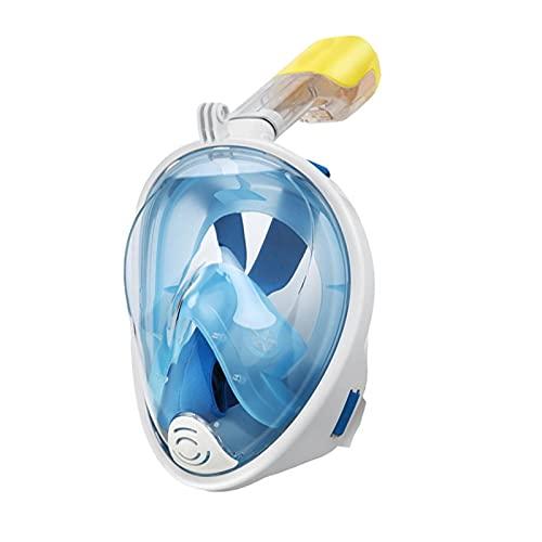 Maschera da snorkeling integrale con il più recente sistema di respirazione a secco, maschera da snorkeling pieghevole a 180 gradi, antiappannamento e a prova di perdite con supporto per fotocamera