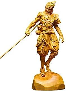 木彫 半手創り 木製彫刻 「西遊記」孫悟空 室内置物 ツゲの木彫り彫像