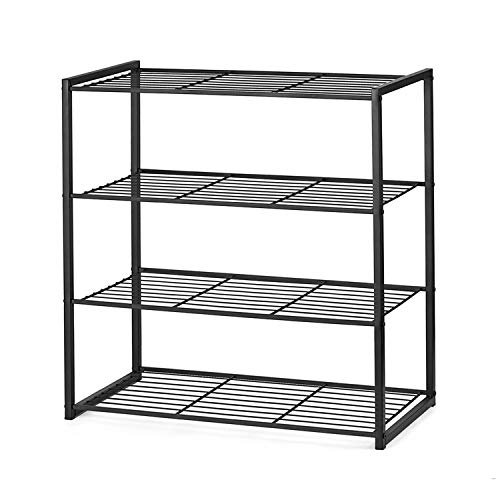 Titan Mall Shoe Organizer Free Standing Shoe Rack 4 Tier Matte Black 25 Inch Shoe Tower Shelf Storage