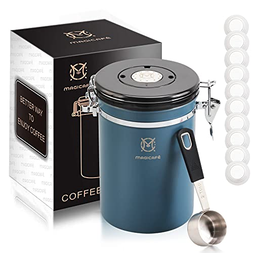 Magicafé Airtight Coffee Bean Storage - with Co2 Valve Vacuum Sealed Coffee Container with Scoop For Beans Grounds Large Blue 21oz
