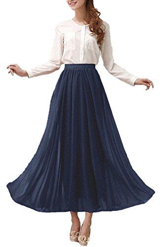 Afibi Womens Chiffon Retro Long Maxi Skirt Beach Ankle Length Skirt (Medium, Navy Blue)