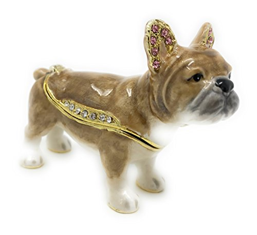 Kubla Craft Enameled French Bulldog Trinket Box, Accented with Austrian Crystals
