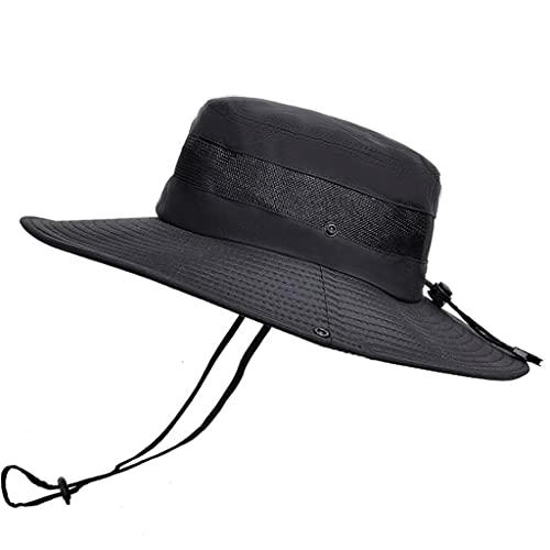 QIFFIY Sunhat Summer Transpirable Mess Sun Perrero Sombrero Hombre Pesca al Aire Libre Montajeerering Grandes Aleros Pescador Hat Mujeres (Color : Black)