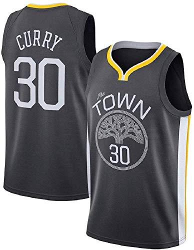 ZOZ Hombre Jersey de Baloncesto Masculino Warriors de Stephen Curry Jersey # 30 Sin Mangas Malla Jersey (Negro, L.)