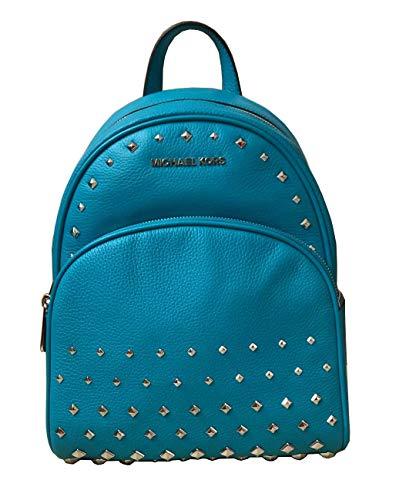 Michael Kors Abbey Medium Studded Leatherl Backpack Tile Blue