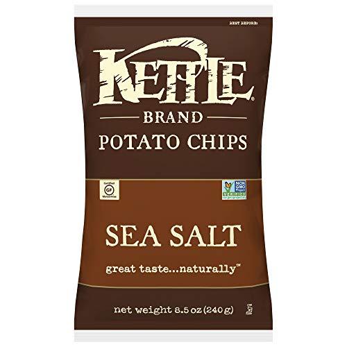 Kettle Brand Potato Chips, Sea Salt, 8.5 Ounce Bags (Pack of 12)