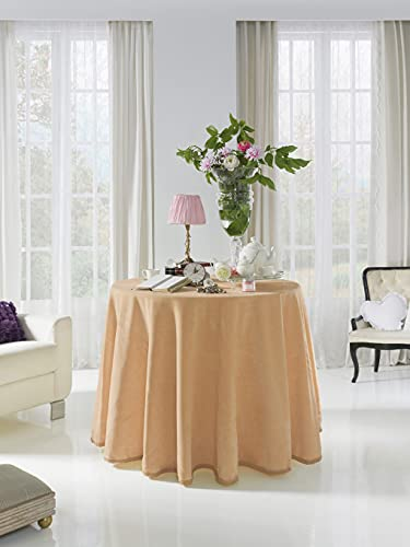 Acomoda Textil - Falda para Mesa Camilla Terciopelo, Redonda - Rectangular, Suave y Cálida de Invierno.(Redonda 100 cm, Visón)