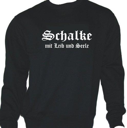 Schalke mit Leib und Seele; Städte Sweatshirt schwarz, Gr. XL