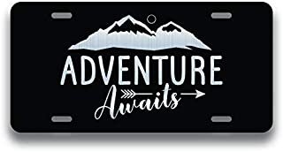 JMM Industries Adventure Awaits Vanity Novelty License Plate Tag Metal Car Truck 6-Inches by 12-Inches Etched Metal UV Resistant ELP152