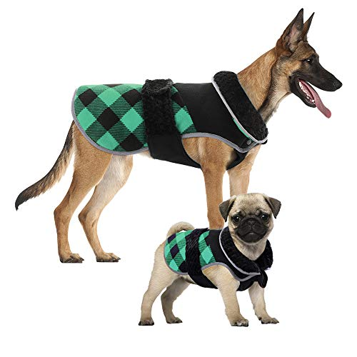 Kuoser Dog Winter Coat British Style Plaid Fleece Warm Christmas Clothes, Reflective Reversible Cold Weather Dog Jacket Windproof Cozy Dog Vest for Small Medium Large Dogs Green XXL