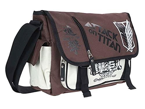 Attack on Titan Tasche im Aufklärungstrupp Design | Kompakte Umhängetasche | Braun - Weiß