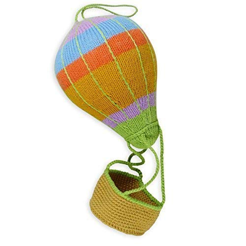 Chill n Feel Strick-Heißluftballon-Mobile zum Aufhängen, bunt, unisex, 36 cm, Ballonkorb zum Befüllen, Bio-Baumwolle, Babyshower, Geburtsgeschenk