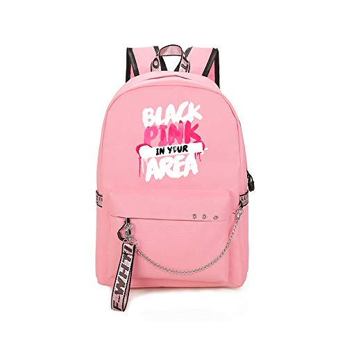 Blackpink Casual Backpack Popular Backpack Water Resistant Campus School Travel Daypack Business Rucksack for Women Unisex (Color : Pink06, Size : 30 X 13 X 43cm)