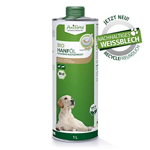 AniForte kaltgepresstes Bio Hanföl für Hunde & Pferde 1 Liter - 100% reines Barf Öl als Zusatz, Premium Hanföl, Naturprodukt ohne Zusätze, Recyclebare Verpackung ohne BPA