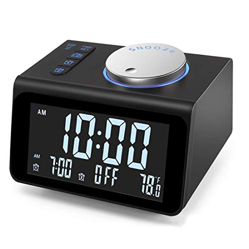【Upgraded】 Digital Alarm Clock, with FM Radio, Dual USB Charging Ports, Temperature Detect, Dual...