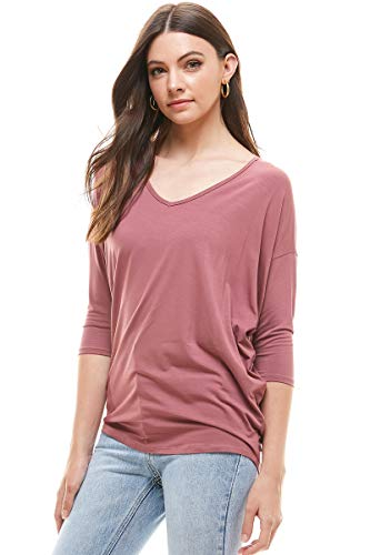 Alexander + David Women's Modal Knit V-Neck Dolman Tunic Top with ¾ Long Sleeves (Terracotta, Large)