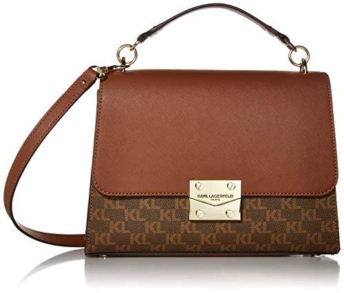 Karl Lagerfeld Paris Damen Corinne Signature TOP Handle Shoulder Bag Umhängetasche, Brown Khaki Monogram/Luggage, Einheitsgröße