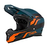 O'NEAL | Mountainbike-Helm | MTB Downhill | Nach Sicherheitsnorm EN1078, Ventilationsöffnungen für Luftstrom & Kühlung, ABS Außenschale | Fury Helmet Stage | Erwachsene | Petrol Orange | Größe M