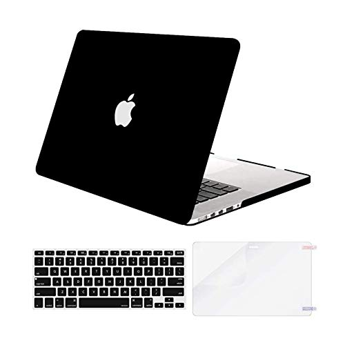 MOSISO Case Only Compatible with Older Version MacBook Pro Retina 13 inch (Models: A1502 & A1425) (Release 2015 - end 2012), Plastic Hard Shell Case & Keyboard Cover & Screen Protector, Black