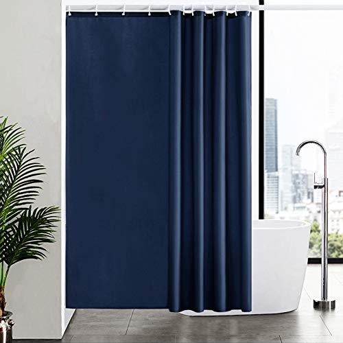 Furlinic Duschvorhang 180x200 Textil für Badewanne und Dusche in Badezimmer, Duschvorhänge aus Stoff, Anti-schimmel Waschbar und Wasserdicht, Dunkelblau mit 12 Duschvorhangringe.
