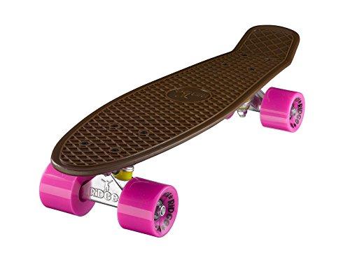 Ridge Unisexe 55 cm Mini Cruiser Retro Style dans M Roues Pleines U monté Skateboard, Mixte, Skateboard Mini Cruiser Board Braun mit 12 Rollenvarianten komplett 55 cm, Marron/Rose
