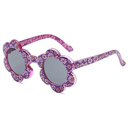 WQZYY&ASDCD Gafas de Sol Gafas De Sol De Flores De Colores Encantadores De Dibujos Animados Gafas Gafas De Sol Protección contra La Radiación-Purple_Grey_Cn