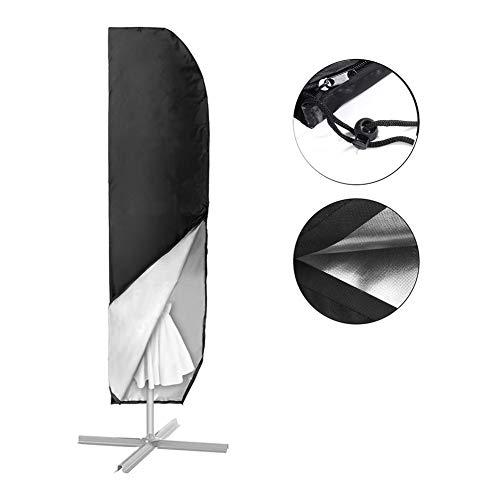 YYQIANG Cubierta Cubierta Parasol Umbrella Extra Grande Basculante con Zip, Impermeable y Transpirable de Tela Oxford - Negro (Size : 190X50X30CM)