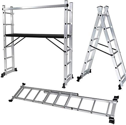 Z ZELUS 3-in-1 Aluminium Multifunktionsleiter Mehrzweckleitern Arbeitsbühne Alu Arbeitsgerüst bis 150 Kg Leitergerüst Multigerüst Baugerüst Stehleiter Klappleiter mit 2 Rädern