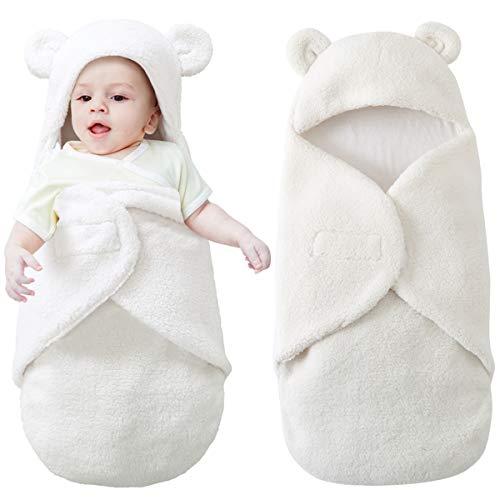 Mit Kapuze neugeborene empfangende Decke, Baby Swaddle Blanket ultra-weicher Schlafsack für Säuglinge Winter warm 0-6 Monate (0-3 Month)