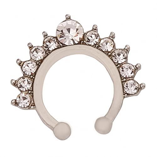 QQWA Fake Non-Pierced Septum Ring Nose Lip Ear Rings Helix Tragus Cartilage Earrings Piercing for Women Men,Silver