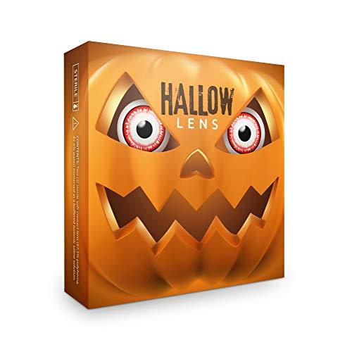 Hallowlens® Lentillas de Color 'Killer Clown' + recipiente de lentillas. En rojo y blanca, blandas, sin dioptrías pack de 2 unidades - cómodas y perfectas para Halloween, Carnaval, sin corregi