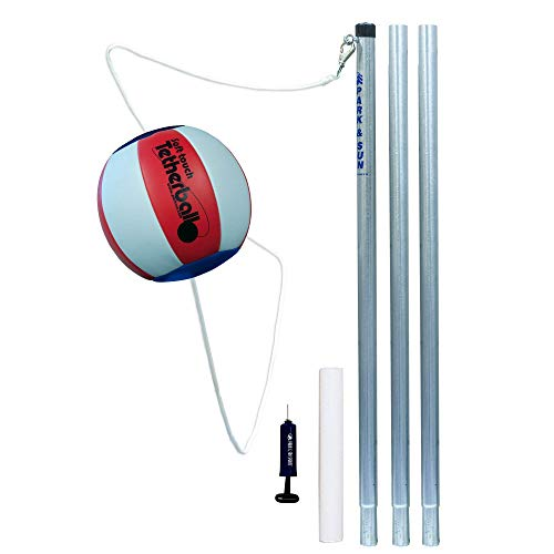 Park & Sun Sports Portable Outdoor Red White and Blue Tetherball Set with Accessories (3-Piece Pole), Multi