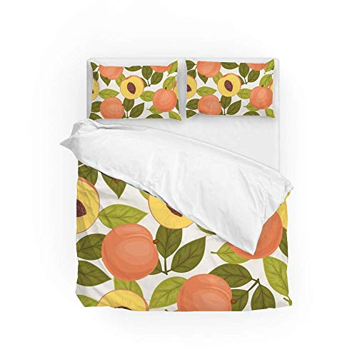 161 Soft Quilt Bedding Set Peach And Tree Leaves Duvet Cover with 2 Pillowcases Set 3 Pieces 230 x 220 CM, King