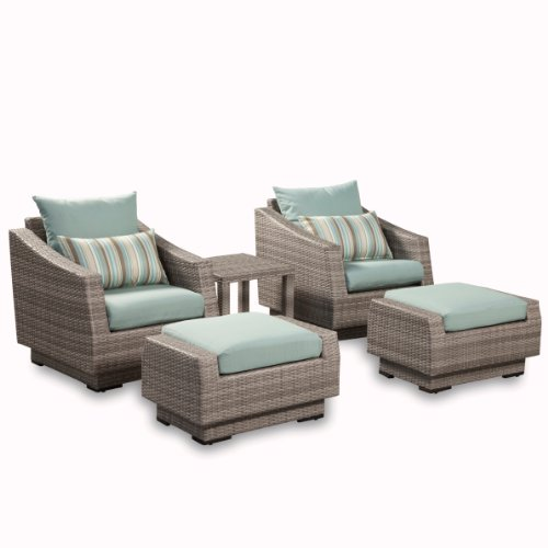 RST Brands 5-Piece Cannes Club Chair and Ottoman Patio Furniture Set, Bliss Blue