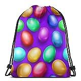 EU Cool Space Astronauta mochila con cordón para gimnasio, bolsa de cuerda, huevos de Pascua de colores