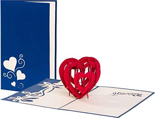 PrimePopUp | Liebeskarte | I LOVE YOU Herz blau | romantische 3D Pop Up Karte | besondere Hochzeitskarte | Geschenk für Freundin Freund | Geburtstagskarte | Ich liebe Dich Karte für Sie & Ihn