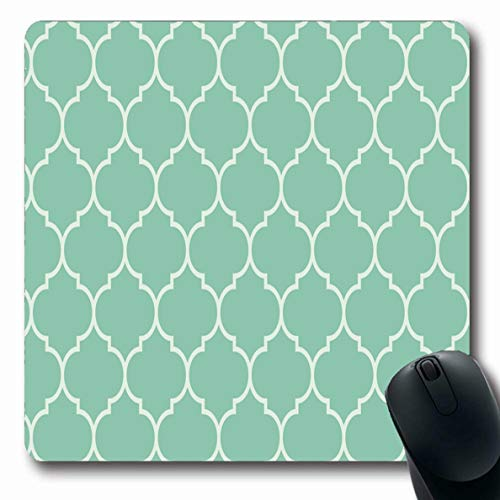Jamron Mousepad Oblong 7.9x9.8 Inches Curve Rococo Turquoise Retro Scroll Wide Moroccan Abstract Ligature Spring Pattern Vintage Design Non-Slip Rubber Mouse Pad Office Computer Laptop Games Mat