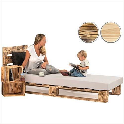 sunnypillow Palettenbett mit Kopfteil 120 x 200 cm Holzbett Bett aus Paletten Palettenmöbel Geflammt Vintage europalette