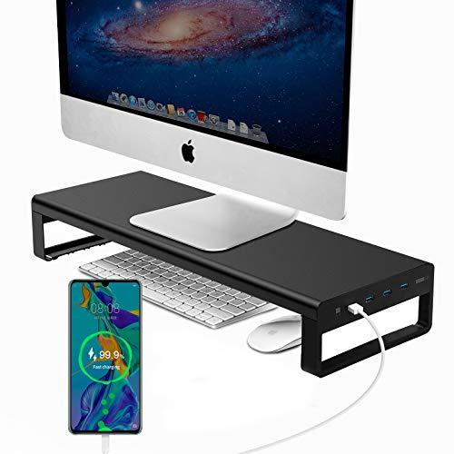 Vaydeer soporte monitor con 1 puerto de carga rápida y 3 concentradores USB 3.0, Soporte monitor mesa para transferencia de datos, Metal elevador monitor que admite hasta 32 pulgadas para PC, portátil