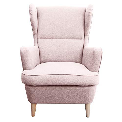 myHomery Sessel Lena Webstoff modern - Ohrensessel gepolstert – Polsterstuhl für Esszimmer & Wohnzimmer - Lounge Sessel mit Armlehne - Rosa
