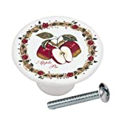 Apple Pie from Food & Drink Kitchen Series Drawer Knob Pull Handle Ceramic Circle Round Shape Cabinet Drawer Pulls Cupboard Knobs with Screws for Home Office Cabinet Cupboard