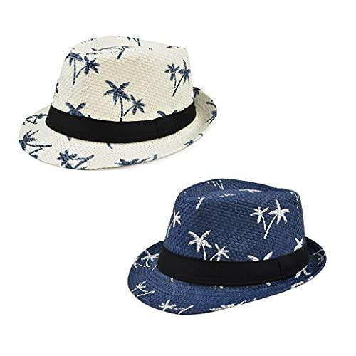 DIWA Sombrero Casual de la Paja de los Hombres, Sombrero de Playa de la Paja Hawaiana al Aire Libre con Estampado para Viajes/Escalada/de Compras, 2 Piezas (Color : Beige+Blue, tamaño : Medium)