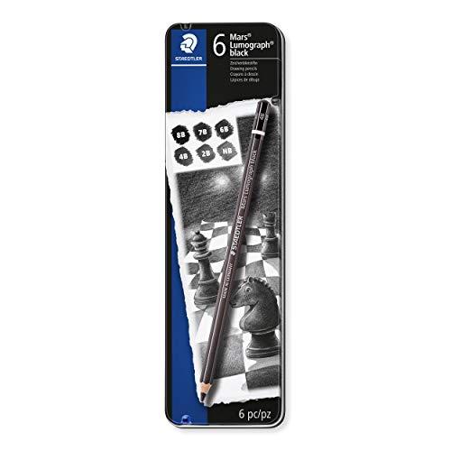 STAEDTLER Künstlerbleistift Mars Lumograph black, Sechskantform, hochwertige Premium-Bleistifte mit spezieller Minenrezeptur, 6 ST in Metalletui, 100B G6